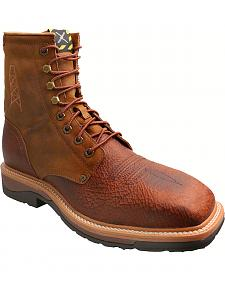 "Twisted X 8"" Lite Cowboy Work Lace-Up Boots - Steel Toe"