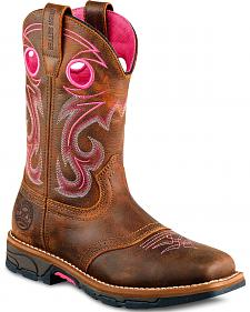 Red Wing Irish Setter Marshall Pink Work Boots - Steel Toe