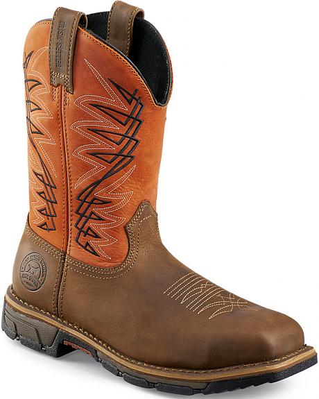 Red Wing Irish Setter Marshall Brown and Rust Work Boots - Soft Square Toe