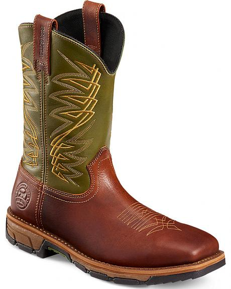 Red Wing Irish Setter Marshall Green and Brown Work Boots - Soft Square Toe