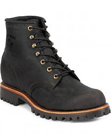 "Chippewa Men's Black Odessa 6"" Lace-Up Work Boots - Round Toe"