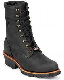 """Chippewa Men's Black Odessa 8"""" Lace-Up Work Boots - Steel Toe"""