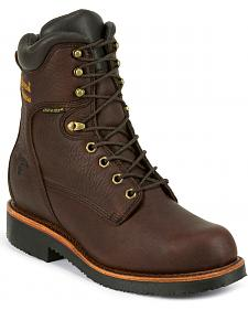 "Chippewa Men's Oiled Walnut 8"" Lace-Up Waterproof Work Boots - Round Toe"
