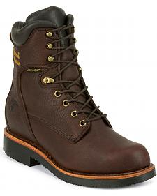 "Chippewa Men's Oiled Walnut 8"" Lace-Up Waterproof Work Boots - Steel Toe"