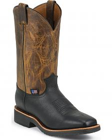 Chippewa Men's Black Pitstop Arroyos Pull-On Western Work Boots - Square Toe