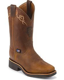 Chippewa Women's Worn Saddle Brown Western Work Boots - Square Toe