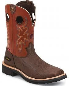 Tony Lama Walnut Elephant Print 3R Western Work Boots - Composite Toe