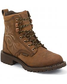 "Justin Original Workboots Women's 6"" Aged Bark Lace-Up Work Boots - Soft Round Toe"