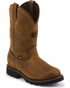 Justin Original Workboots Stag Gaucho Waterproof Insulated Pull-On Work Boots - Soft Round Toe
