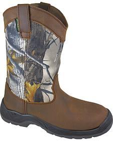 Smoky Mountain Men's Brushfield Camo Wellington Waterproof Work Boots - Steel Toe