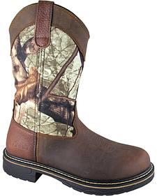 Smoky Mountain Men's Stage Camo Wellington Work Boots - Round Toe