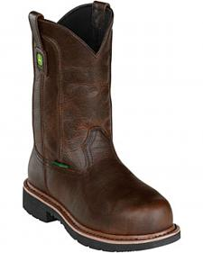 John Deere Men's Leather Pull-On Work Boots - Steel Toe