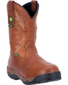 John Deere Men's Leather Pull-On Waterproof Work Boots - Safety Toe