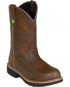 John Deere Men's Leather Pull-On Waterproof Work Boots - Steel Toe
