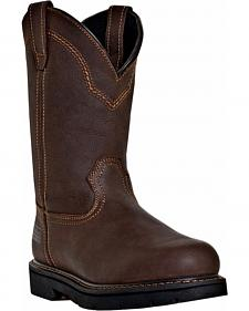 McRae Men's Pull-On Work Boots - Round Toe