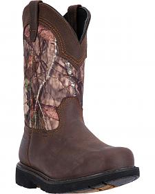 McRae Men's Mossy Oak Camo Pull-On Work Boots - Square Toe