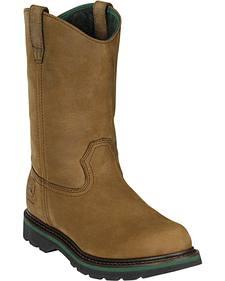 John Deere Men's Leather Pull-On Work Boots - Round Toe