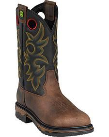 John Deere Men's Western Work Boots - Round Toe