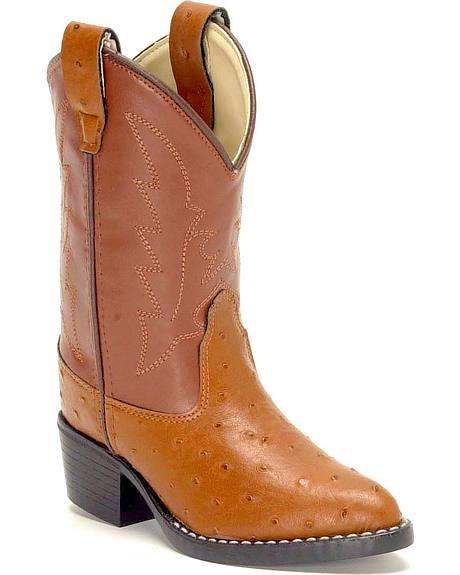 Old West Boys' Ostrich Print Cowboy Boots