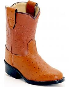 Old West Toddlers' Ostrich Print Cowboy Boots