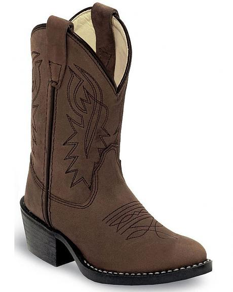Old West Children Boys' Distressed Cowboy Boots - Round Toe