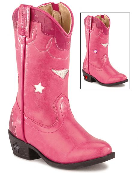 Children's Stars Light Up Pink Boots