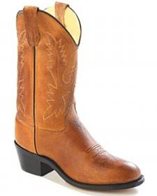Old West Youth Girls' Corona Calfskin Cowboy Boots - Round Toe
