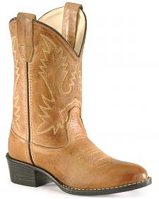 Old West Boys' Corona Calfskin Cowboy Boots - Round Toe