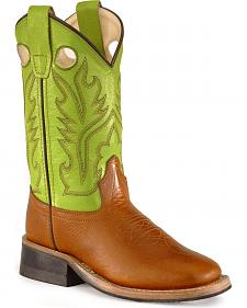 Old West Youth Corona Calfskin Cowboy Boots - Square Toe