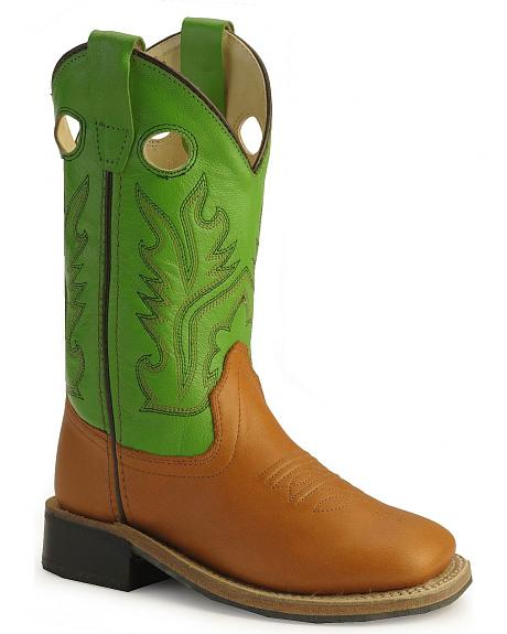 Old West Childrens' Corona Calfskin Cowboy Boots - Square Toe