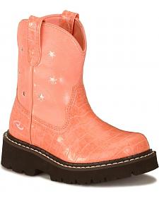 "Roper Girls' 6"" Pink Chunk Boots - Round Toe"
