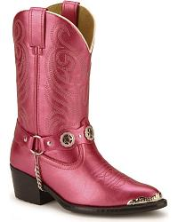 Children's Metallic Pink Harness Cowgirl Boots at Sheplers
