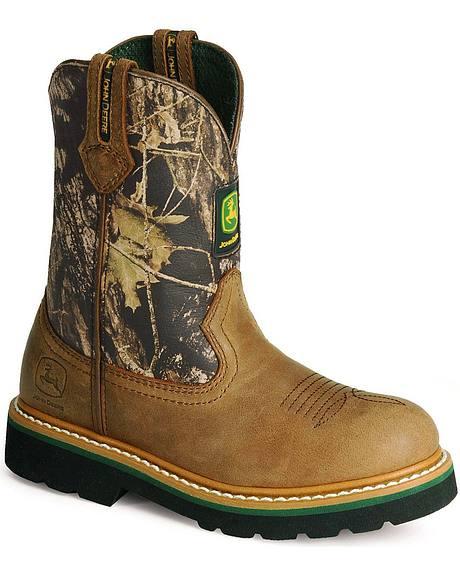 John Deere Boys' Camo Johnny Popper Boots