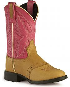 Old West Girls' Pink Cowgirl Boots - Round Toe