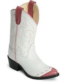 Old West Children's Pink Ostrich Print Wingtip Cowgirl Boots