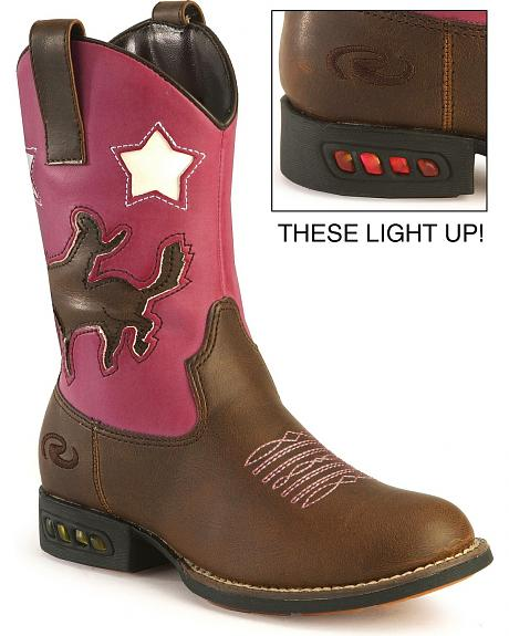 Roper Toddler Girls' Light Up Pink Bronco Cowgirl Boots