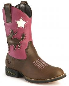 Roper Girls' Light Up Pink Bronco Cowgirl Boots