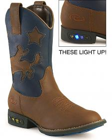 Roper Boys' Light Up Blue Bronco Cowboy Boots - Round Toe
