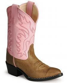 Old West Girls' Pink Corona Calfskin Cowgirl Boots