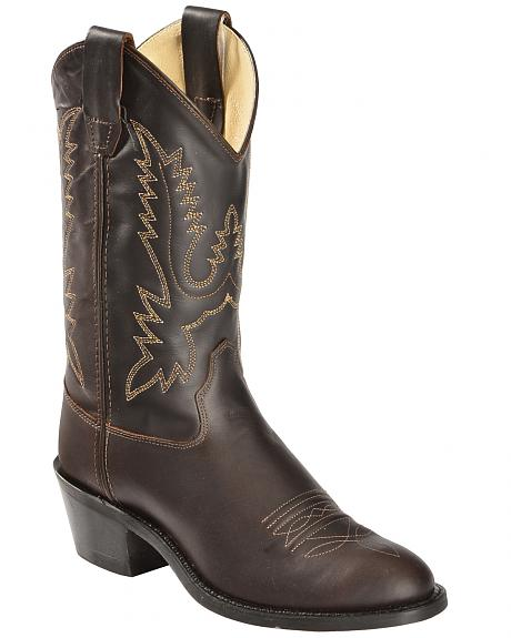 Old West Boys' Oiled Corona Leather Cowboy Boots