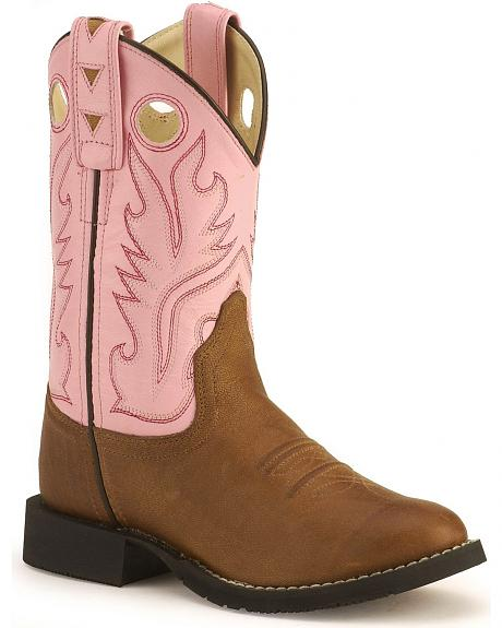 Old West youth pink cowgirl boots - round toe