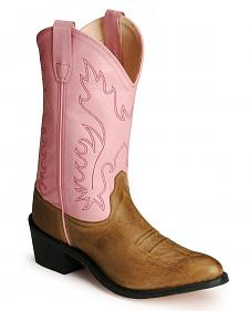 Old West Youth Girls' Pink Cowgirl Boots