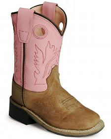 Old West infants' pink cowgirl boots