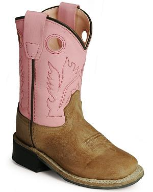 Old West Infants Pink Cowgirl Boots