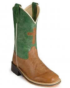 Old West Children's Cross Inlay Cowboy Boots - Square Toe