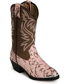 Smoky Mountain Children's Pink Snake Print Cowboy Boots - Medium Toe
