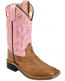 Old West Girls' Pink Cowgirl Boots - Square Toe