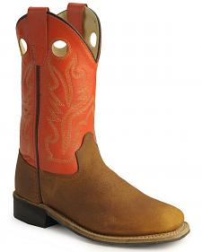 Old West Children's Copper Corona Calf Cowboy Boots - Square Toe