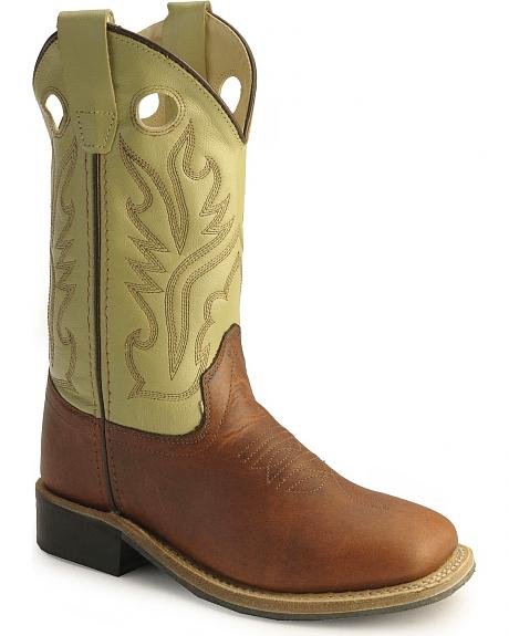 Old West Children Boys' Rust Calfskin Cowboy Boots - Square Toe