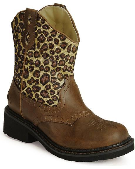 Roper Children's Leopard Print Brown Cowboy Boots